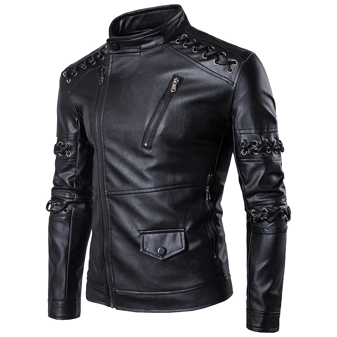 Loldeal 2018 PU Leather Motorcycle jacket Men Black Solid Mens Faux Fur Coats Trend Slim Fit Youth Motorcycle Suede Jacket