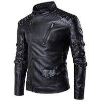 Winter New Fashion M 5XL Black Men PU Leather Jacket Stand Collar Knitting Drawstring Motorcycle Clothing