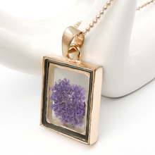 Rectangular Natural Dried Flower Pendant Necklace Golden Bead Chain Crystal Glass Dried Flower Accessories