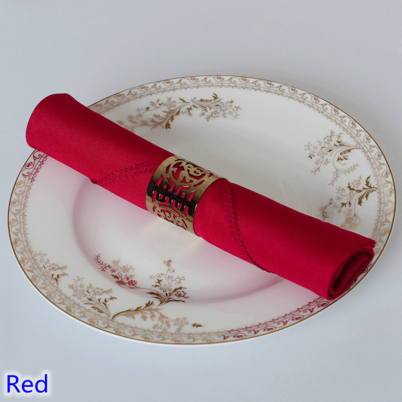 Red colour Table napkin plain polyester napkin for wedding hotel and restaurant table decoration wrinkle stain resistant