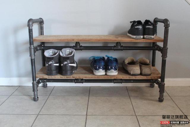 American Iron Pipe Wood Retro Shoe Sandal Shoe Storage Rack Slippers Rack  Shoe Rack Multi