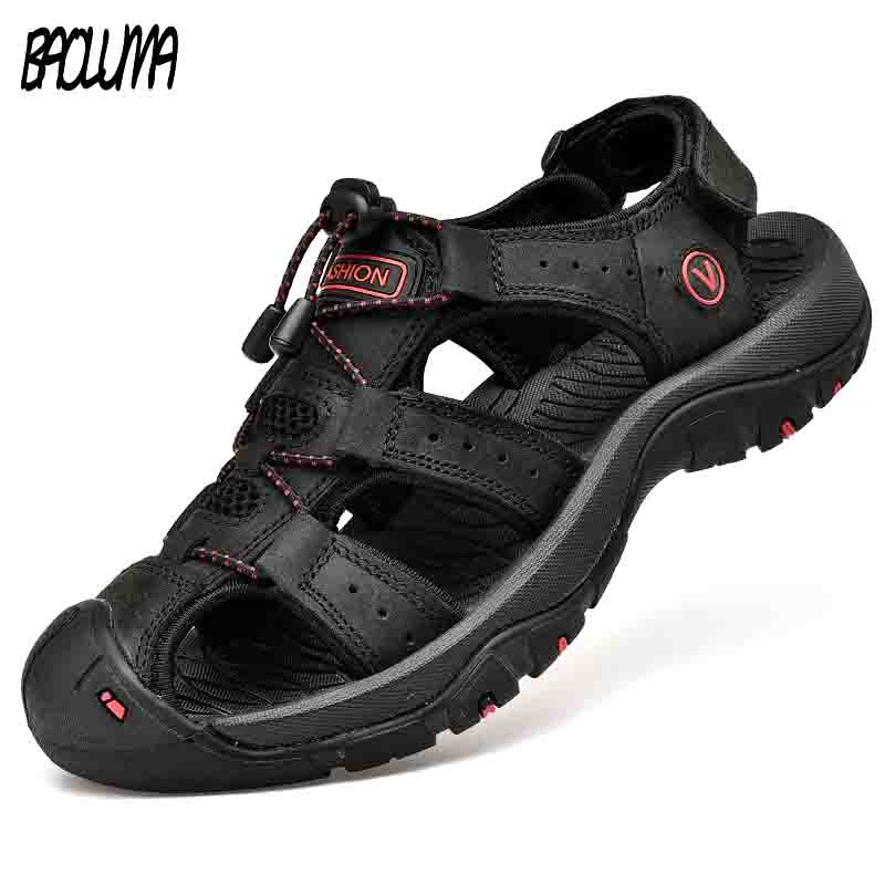 Classic Men's Sandals Summer Soft Sandals Comfortable Men Shoes Genuine Leather Sandals Big Size Soft Outdoor Men Roman Sandals