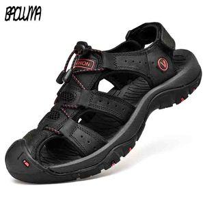 Classic Men's Sandals Summer Soft Sandals Comfortable Men Shoes Genuine Leather Sandals Big Size Soft Outdoor Men Roman Sandals(China)