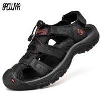 Klassieke Mannen Zachte Sandalen Comfortabele Mannen Zomer Schoenen Leren Sandalen Big Size Zachte Sandalen Mannen Romeinse Comfortabele Mannen Zomer