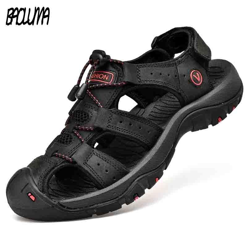 Sandalias clásicas para hombre, sandalias suaves de verano, zapatos cómodos para hombres, sandalias de cuero genuino, sandalias romanas suaves de gran tamaño para hombres al aire libre