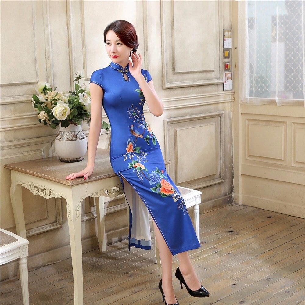Bleu chinois Style Mandarin col femmes robe Vintage imprimé Satin Long Qipao élégant fleur Cheongsam taille S M L XL XXL XXXL