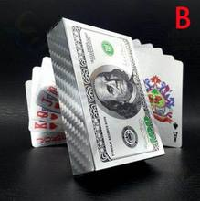 50PCS Euro US dollars Style Waterproof Plastic Playing Cards Gold Foil Poker Golden 24K Plated Table Games