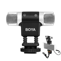 BOYA BY MM3 Dual Head Stereo Recording Condenser Microphone for iPhone 7 Android Smartphone DSLR Camera DV Livestreaming Video