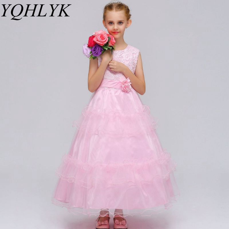 New Fashion Spring Autumn Girl Dress 2018 Children Bowknot Lace Cake Princess Maxi Dresses Wedding Bridesmaid Kids Clothes W142