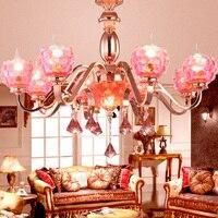 Rose Gold Plated K9 Crystal pendant lamp Pink Gold pendant lamp Beautiful fashion pomegranate pendant light 110 220V LED light
