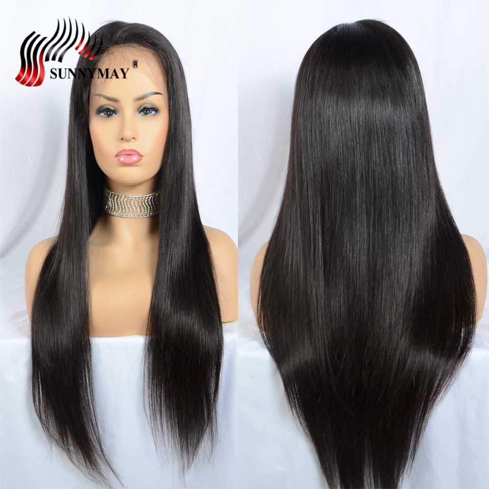 Sunnymay Full Lace Human Hair Wigs Straight Brazilian Remy Hair Pre Plucked Natural Hair Line Full