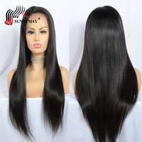 Sunnymay полный кружево человеческие волосы Искусственные парики прямые бразильские волосы remy Предварительно сорвал прядь натуральных волос