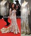 Impressionante Champagne Sereia Vestidos de Celebridades Vestidos com Decote Em V APliques Embellished Vestidos de Noite Lindo Prom PartyDresses