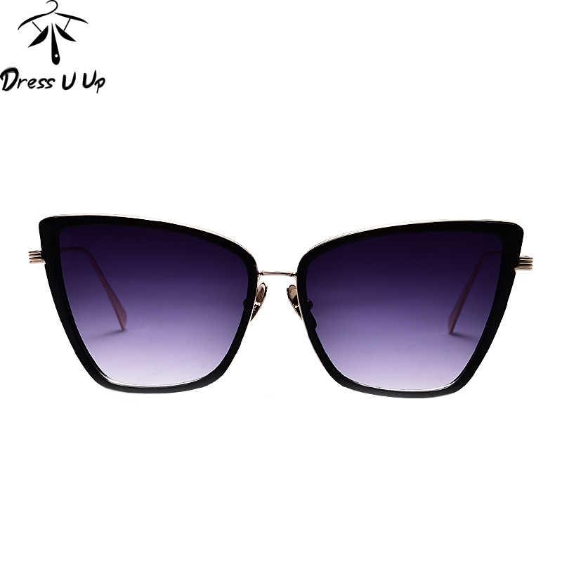 DRESSUUP Nova Moda Olho de Gato óculos de Sol Das Mulheres Designer De Marca Vintage Estilo Quadrado Frame Da Liga de Óculos de Sol Oculos de sol Feminino
