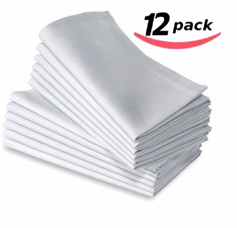 12PC COTTON RESTAURANT DINNER CLOTH LINEN WHITE 50x50cm PREMIUM HOTEL NEW NAPKINS
