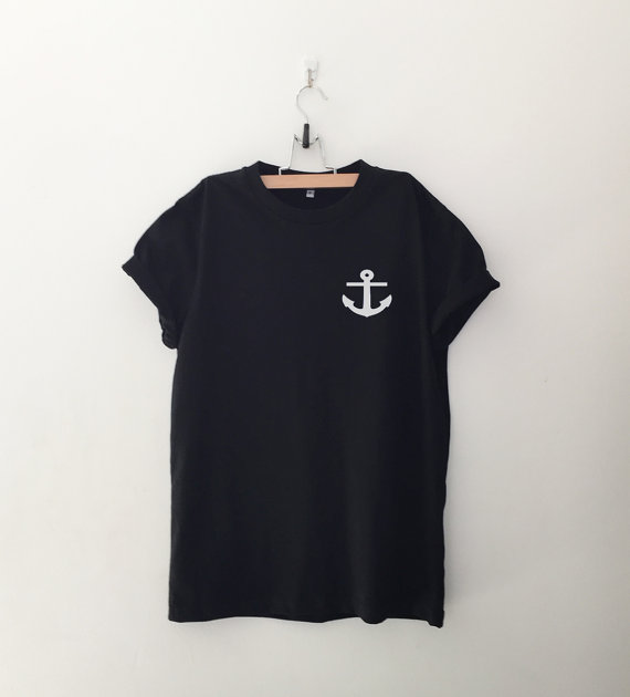 Nautical Anchor Pocket Tee Shirt Funny TShirts Instagram Tumblr T Shirt Womens Graphic Tees Shirts Gifts Screen-A933