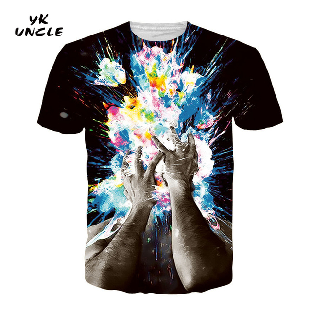 YK UNCLE Brand Impression Style Men Women 3d T-shirt Printed Watercolor  People Brain Hole Open Summer Cool Slim T shirt Tee Tops d592eff4e