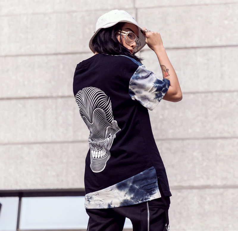 Tie Dye Ripped Patchwork T Shirts 4