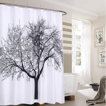Natural Tree Design Polyester Shower Curtain Washable Waterproof Fabrics Bathroom Curtain High Quality Elegant Bath Curtains