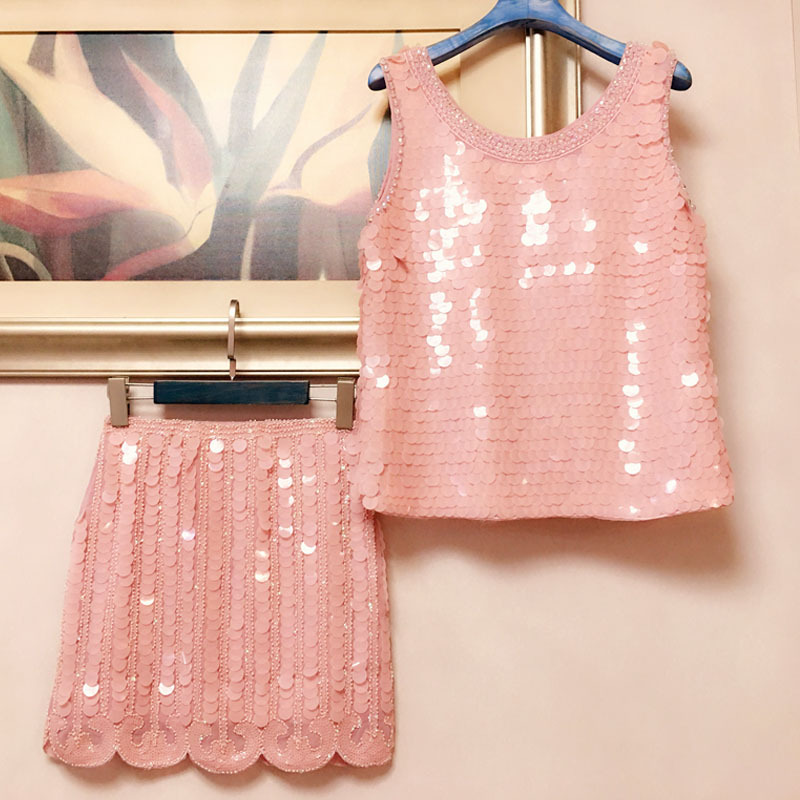 Élégant Sequin Tops Pink Ensemble Office Pièces Hip Sans Deux And Rose Et white Lady Jupes rose Cover Costumes Manches Black noir Femmes White 2018 CrzqC