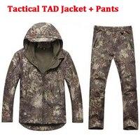 Softshell TAD 사냥 전술 재킷 또는 바지 얇은 안감 양털 야외 하이킹 캠핑 방수 스포츠 Outwears 정장
