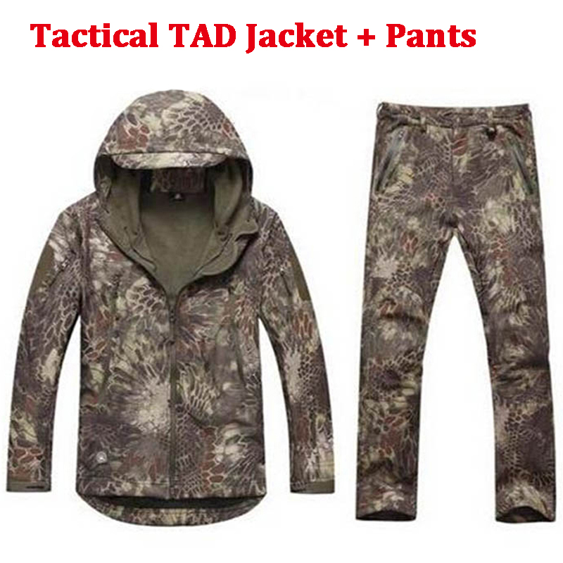 Softshell TAD Hunting Tactical Jacket Or Pants Thin Fleece Lining Outdoor Hiking Camping Waterproof Sport Outwears Suits