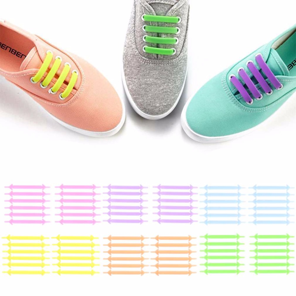Novelty No Tie Shoelaces Men Women Unisex Elastic Silicone Shoe Laces 12pcs/set Luminous Shoeslace For All Sneakers siketu 12pcs novelty unisex no tie shoelaces silicone elastic sneaker lazy shoe laces jn6 y20