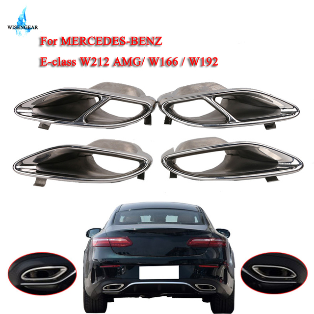 Wisengear 2x Chrome Exhaust Tip Ler Tips Pipe Quad Stainless Steel For Mercedes Benz W212 E200