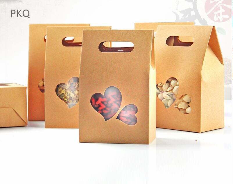 100 pcs/lot boîte d'emballage en papier cadeau en carton Kraft brun avec fenêtre en pvc en forme de coeur pour aliments debout sac en papier-in Sacs-cadeaux et emballages from Maison & Animalerie    1
