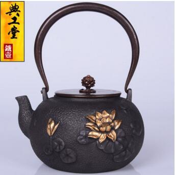 2018 nuevo estilo 1,2l olla de hierro fundido de loto olla de hierro imitación antigua olla de hierro japonés hervidor de hierro de cerdo del Sur tetera hervidor de agua