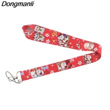 P3885 Dongmanli Cute Lucky Cat Keychain Lanyard Badge ID Lanyards/ Mobile Phone Rope/ Key Lanyard Neck Straps Accessories(China)