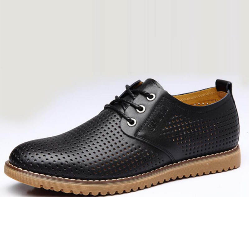 Summer Men Leather Shoes Breathable Casual New 2017  Men's shoes Leather Luxury Oxford Fashion Lace Up Dress Shoes Plus Sizes 47 2017 simple common projects breathable lace up handmade leather shoes casual leather shoes party shoes men winter shoes