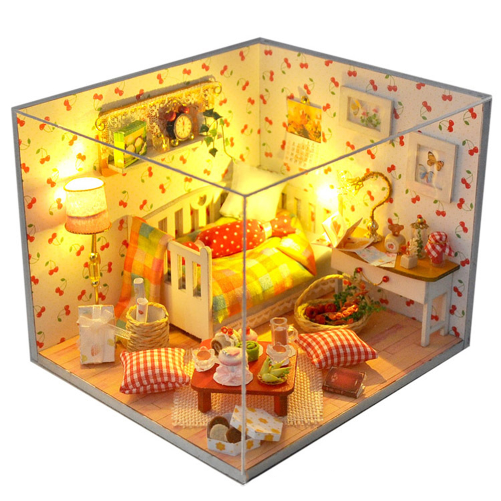 DIY Miniature Room Wooden Doll House The Fruit of Autumn with Furniture LED Lights Dust Cover Dollhouse Toys for Children