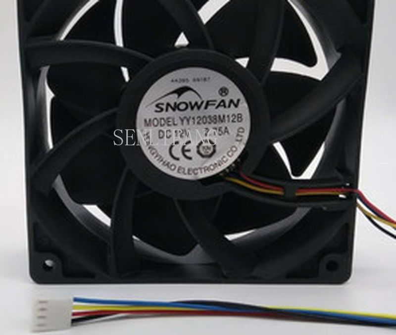 For SNOW FAN YY12038M12B DC 12V 2.75A 120x120x38mm 4-Wire Server Square Fan