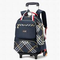 Su geçirmez Arabası sırt çantası Erkek Kız çocuk okul çantası Tekerlekler seyahat çantası bagajı sırt çantası çocuklar Haddeleme ayrılabilir okul çantaları