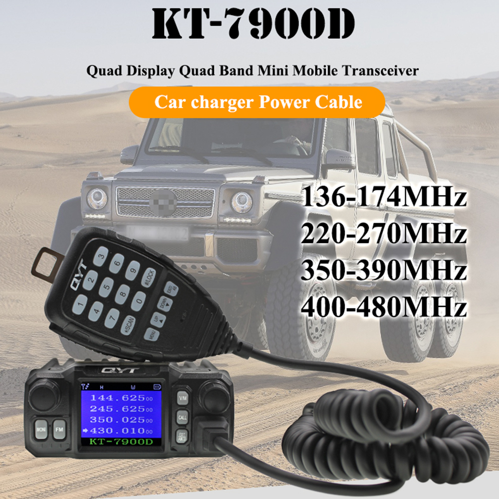 Image 2 - 2019 Latest Version Mini Mobile Radio QYT KT 7900D 25W Quad Band 144/220/350/440MHz KT7900D UV transceiver or with Power Supply-in Walkie Talkie from Cellphones & Telecommunications