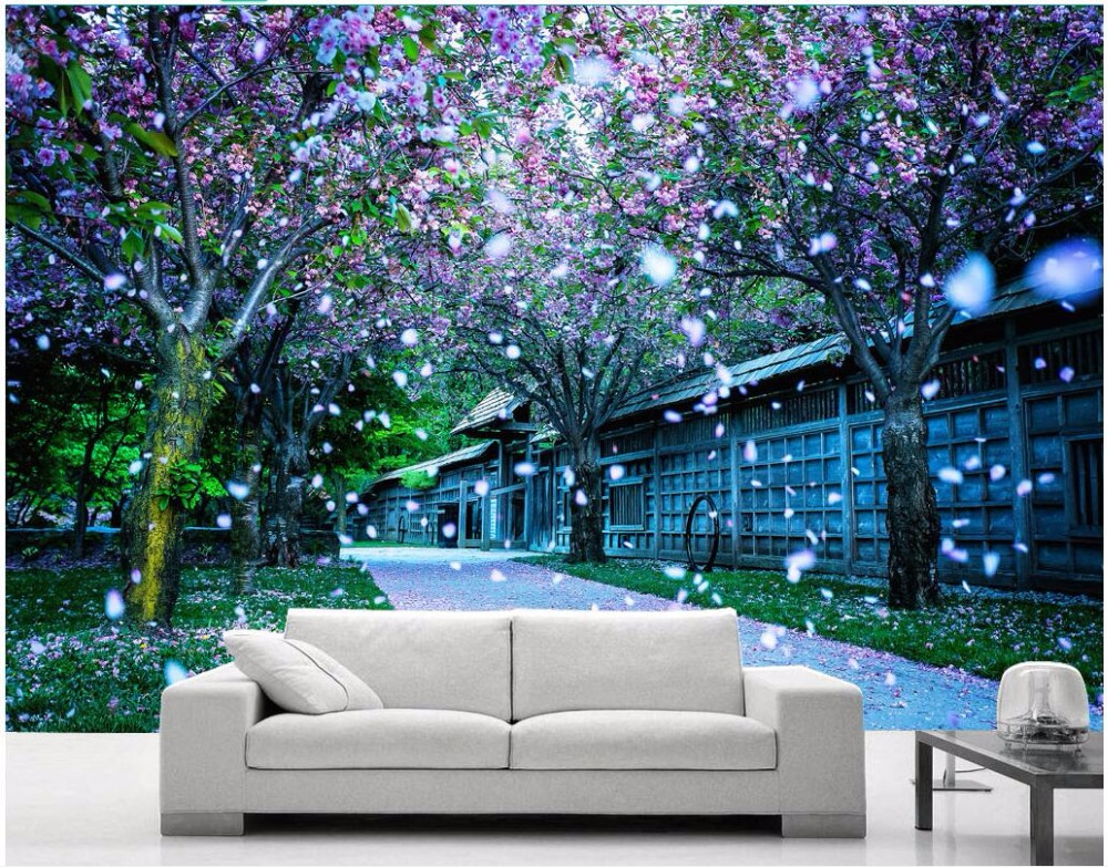 custom photo 3d wallpaper Park sakura romantic and ...