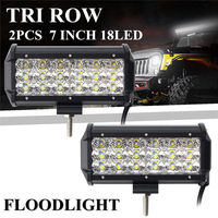 2PCS High Quality 7 Inch Tri Row 180W 18 LED Work Light Bar Flood Off Road