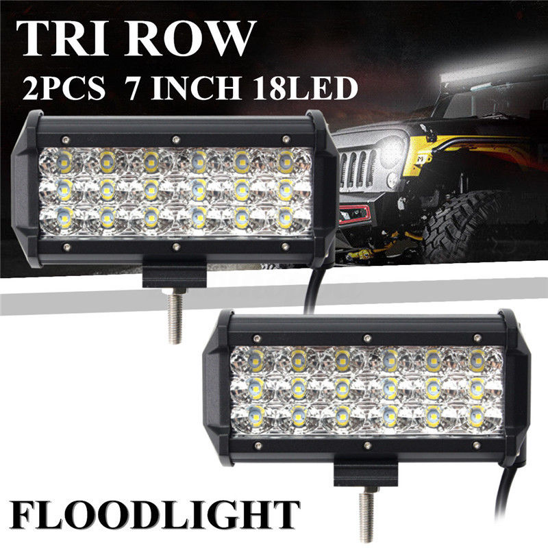 2PCS High Quality 7 Inch Tri Row 180W 18 LED Work Light Bar Flood Off Road Car Boat Driving Lamp For Vehicle SUV Truck g126y 2pcs red led light 25 31mm spst 4pin on off boat rocker switch 16a 250v 20a 125v car dashboard home high quality cheaper