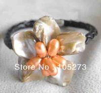 El nuevo Arriver gema joyería venta al por mayor barroco mar blanco Shell flor de naranja pulsera de perlas naturales 8 '' dama de moda de estilo