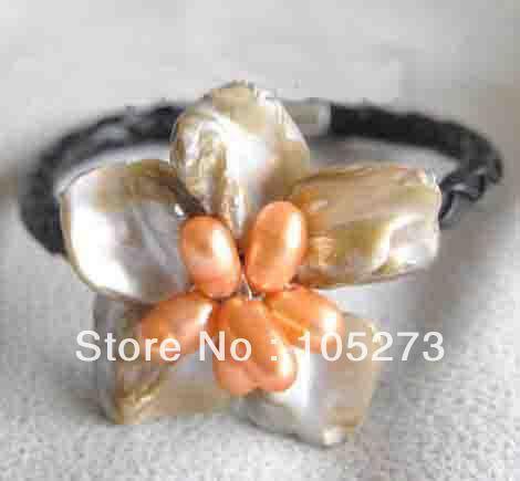 Nova Arriver Gem Stone jóias atacado barroco do mar branco Shell flor laranja Natural pérola pulseira 8 '' moda Lady 's estilo
