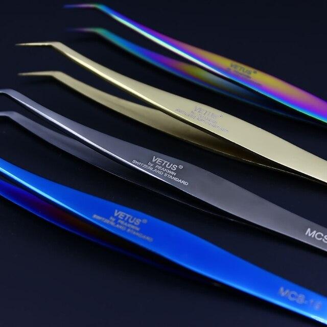 100% Original Genuine Vetus Tweezers MCS Series Premium Eyelash Extensions Beauty Makeup Tweezers Ultra Fine Tip Tweezers 1