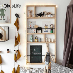 European DIY Wall Mounted Wood Decorative Shelf Toys Frame For Home Kids Bedroom Decoration 4 layers Hanging Craft Wall Decor