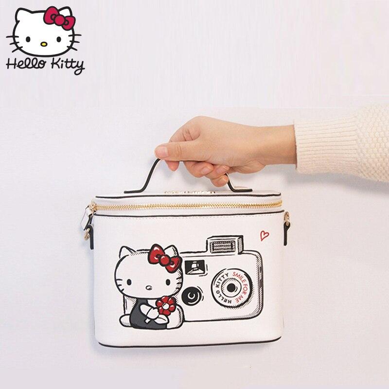Hello Kitty Cute Cartoon Storage Box Women Cosmetic Handbag Travel Fashion Single Shoulder Make Up Girl Purse Plush Backpack