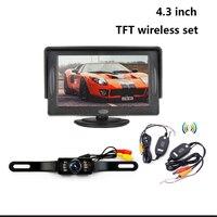 Kablosuz HD LED Gece Görüş Reversing 170 Araba plaka Yedekleme Dikiz Kamera 4.3 Inç TFT LCD Dikiz Ekran Monitör