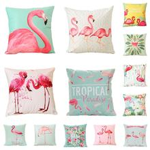18 Inch Summer Flamingo Cushion Cover Throw Pillow Case Sofa Bed Home Decor Square Fashion