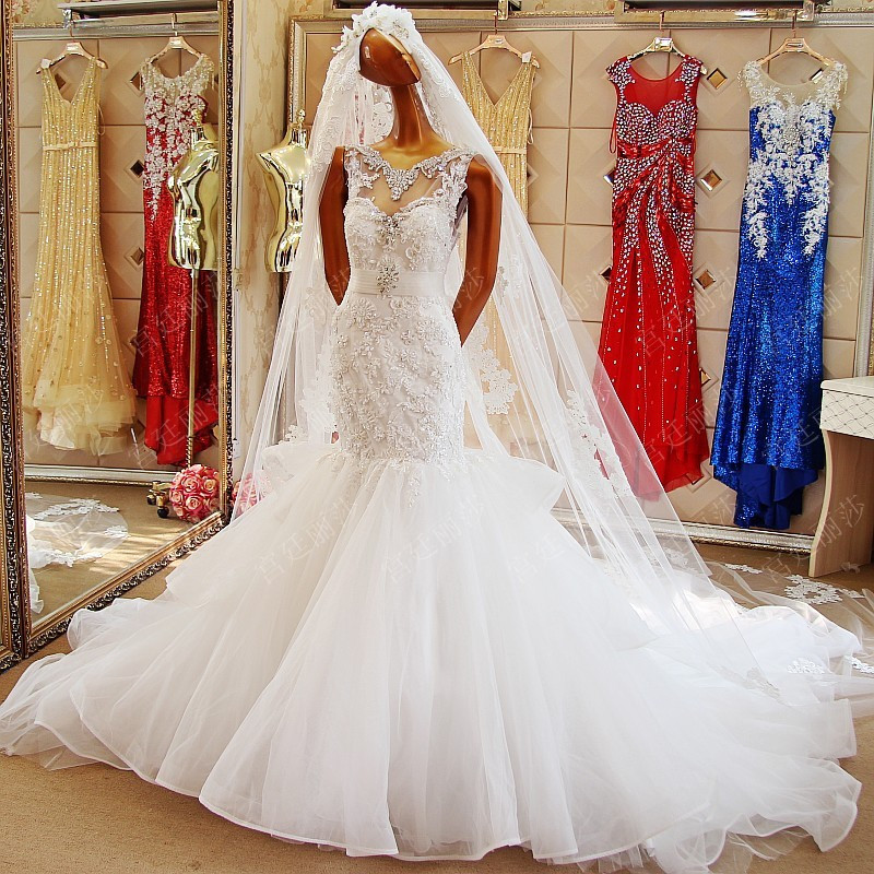 High Quality Lace Extravagant Mermaid Wedding Dress 2015 With