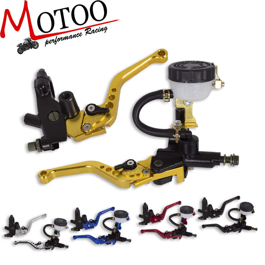 Motoo - Free Shipping Universal Adjustable Motorcycle Brake Clutch Levers Master Cylinder Hydraulic Reservoir Set For Honda
