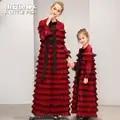 Moeder en dochter cupcake jurk mode mama en me kleren moeder en dochter trouwjurk winter lange mouw familie outfits