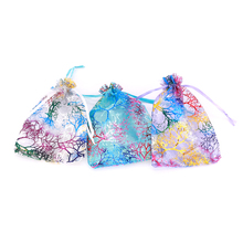 100pcs 7x9 9x12 10x14 13x18cm Organza Gift Bags Jewelry Candy Packaging Bag Wedding Party Decoration Drawable & Pouches